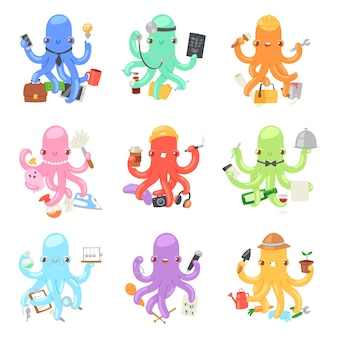 Octopus in business  illustration octopi character of businessman constructor or housewife doing multiple tasks set of multitasking octopuses doctor and teacher  on white background