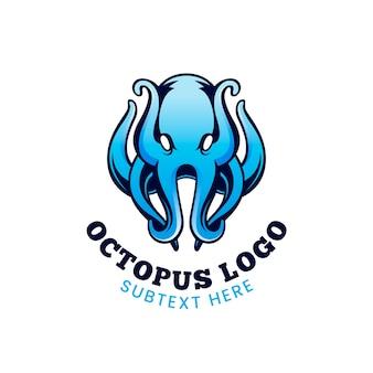 Осьминог бизнес логотип в голубых тонах
