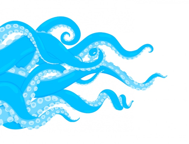 たこ。漫画の水中の海洋動物。タコの背景。クラーケンやイカのイラスト。フレーム外に突き出たボディパーツ