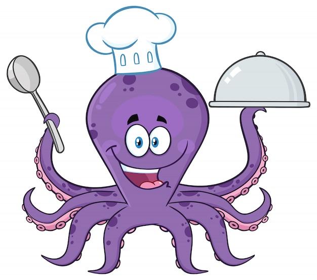 은색 플래터에 음식을 제공하는 문어 요리사 만화 캐릭터. 그림 흰색에 격리