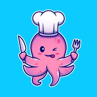 Осьминог повар холдинг нож и вилка мультипликационный персонаж. изолированная еда для животных.