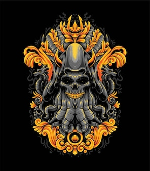 Octopus or cthulhu monster illustration. suitable for t-shirt or merchandise products