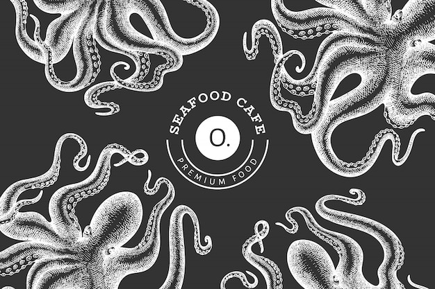 Octopus design template. hand drawn  seafood illustration on chalk board. engraved style squid . retro zoology background