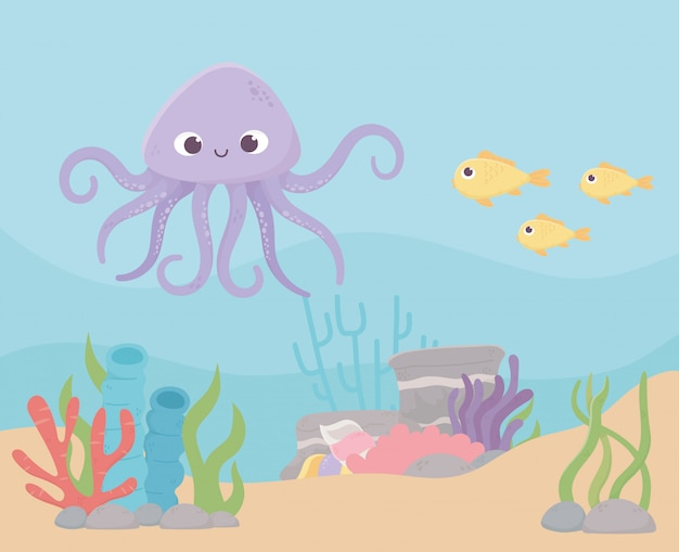 Octopus fishes life coral reef cartoon under the sea