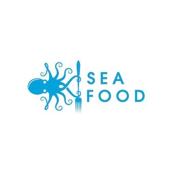 Шаблон логотипа осьминог форк