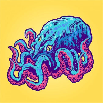 Octopus from the space illustration