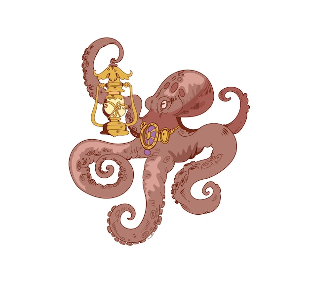 Octopus hand drawn ink icon a vintage style