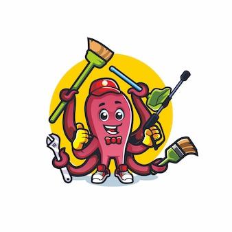 タコのホームクリーニング漫画マスコットベクトル描画