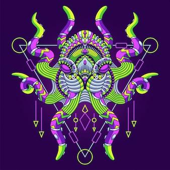 タコのイラスト、カラフルなマンダラ、tシャツのデザイン