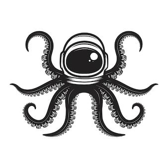 Осьминог в шлеме космонавта. элемент дизайна для плаката, эмблемы, футболки.