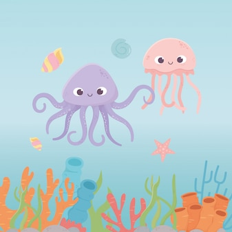 Octopus jellyfish starfish life coral reef cartoon under the sea