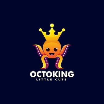 Octopus king gradient colorful style logo