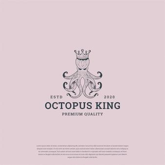 Осьминог король логотип винтаж