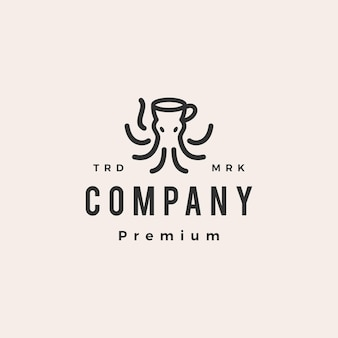 Octopus kraken coffee hipster vintage logo template
