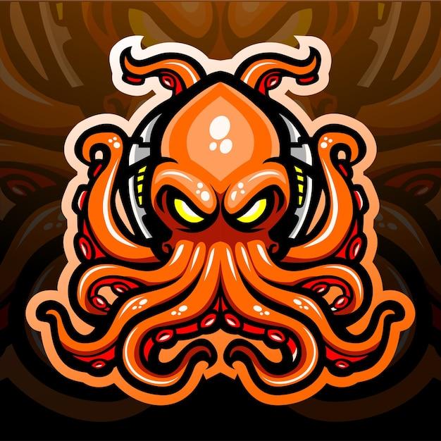 Octopus kraken mascot.