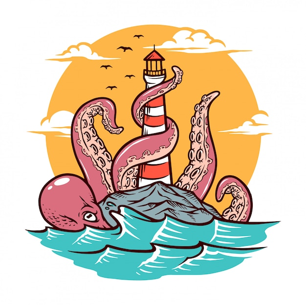 Octopus and lighthouse
