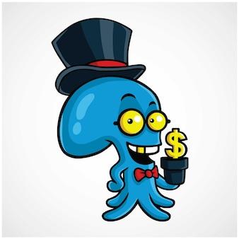 Осьминог логотип грязно богатый осьминог посадки деньги мультфильм векторный дизайн персонажей
