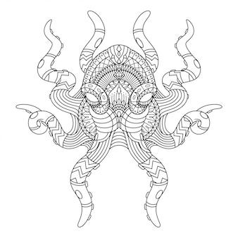 Осьминог мандала zentangle иллюстрация линейный стиль книжка-раскраска