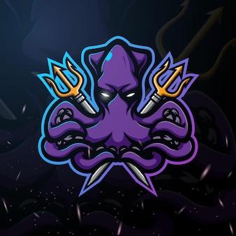 Octopus mascot esport illustration