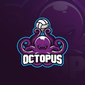 Octopus mascot logo  design with modern illustration concept style for badge, emblem and t shirt printing.