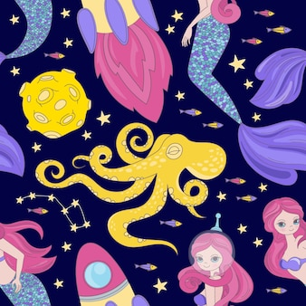 Осьминог русалка мультфильм космос космос море галактическая принцесса бесшовный фон