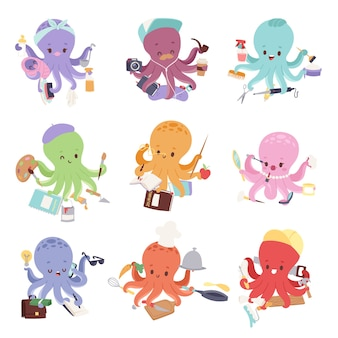 Octopus mollusk ocean coral reef animal character different pose like human and cartoon funny, graphic marine life underwater