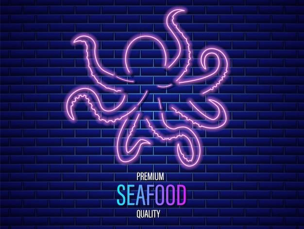 Octopus neon symbol