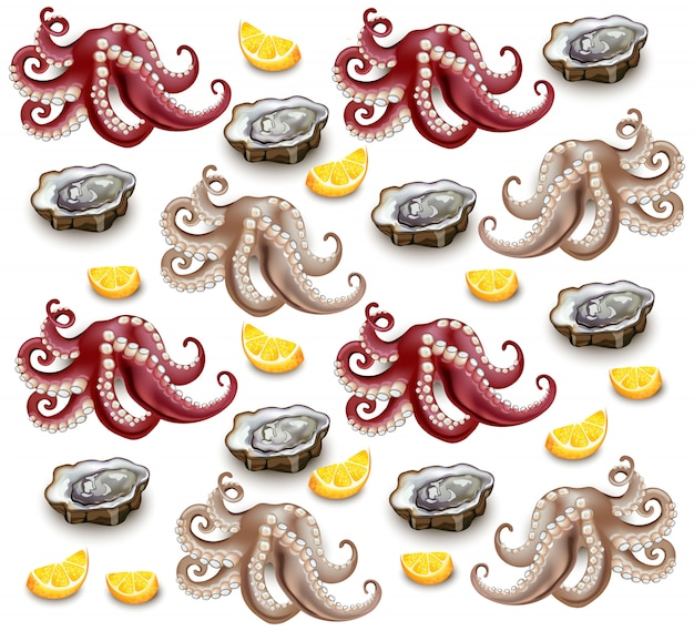 Octopus and oysters sea food pattern