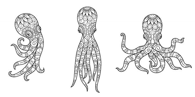 Образец осьминога. нарисованная рукой иллюстрация эскиза для взрослой книжки-раскраски