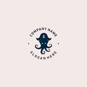 Octopus pirate logo template