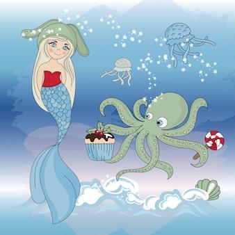 Octopus regale mermaid new year color illustration set