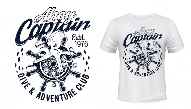 Octopus on sail ship helm, dive and sea print