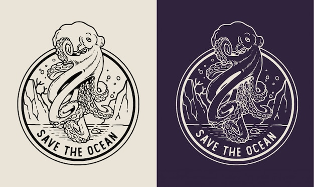 Octopus save the ocean monoline badge
