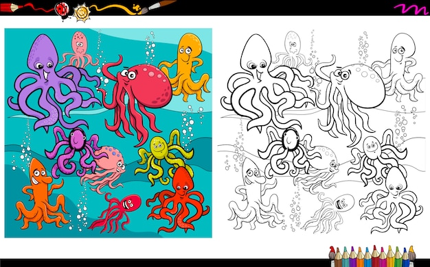 Octopus sea animal characters coloring book