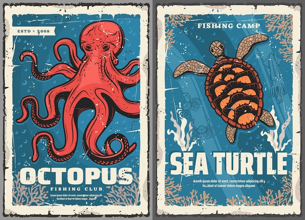 Octopus, sea turtle, squid, crab, fishing posters