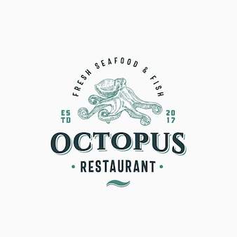 Octopus seafood and fish restaurant abstract sign, symbol or logo template. hand drawn octopus with classy retro typography. vintage emblem. isolated.