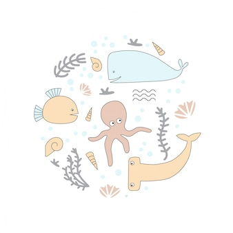 Octopus, shell, hammerhead fish, whale.