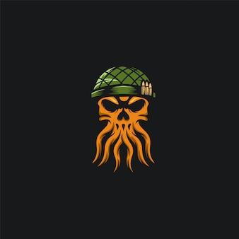 Octopus skull army design ilustration