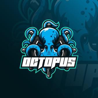 Octopus sport mascot logo  illustration, tshirt and emblem.