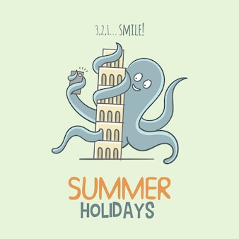 Octopus summer holidays background