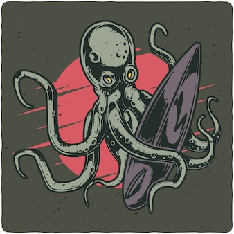 Octopus and surfing board