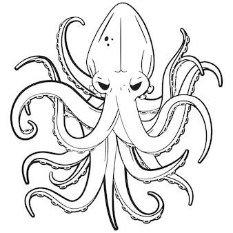 Иллюстрация татуировки осьминога изолированная на белой предпосылке.