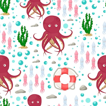 Octopus tentacles sea animal seamless pattern