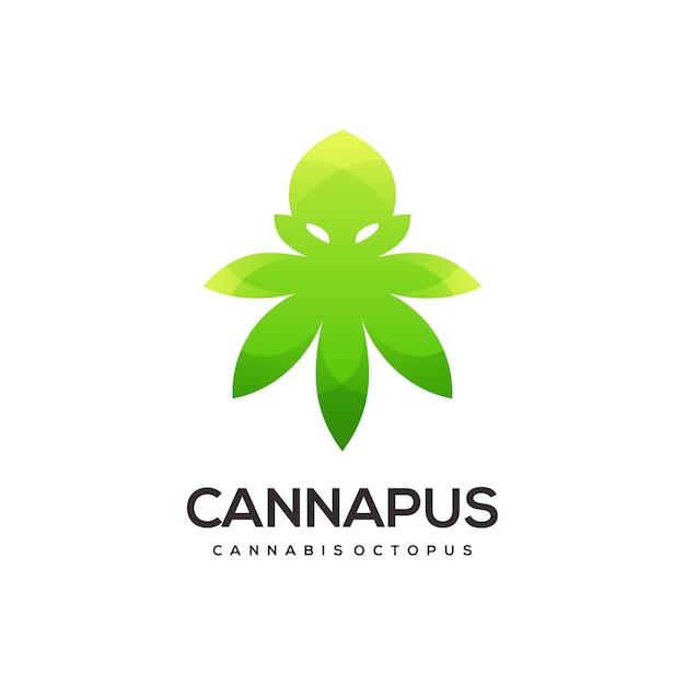 大麻のロゴのグラデーションの抽象的なイラストとタコ