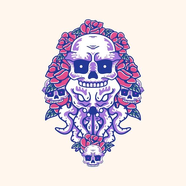 두개골과 장미 삽화가 있는 문어 빈티지 티셔츠용 현대적인 스타일