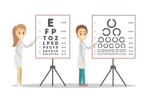 Oculist doctor couple pointing at letter on board. checking eyesight and vision examination. medical treatment concept.    illustration
