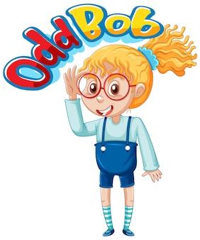 Disegno del carattere del logo odd bob con una ragazza nerd