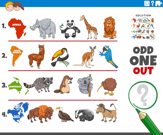 Odd one out picture game with animal species