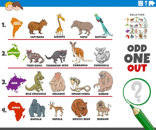 Odd one out picture game with animals and continents