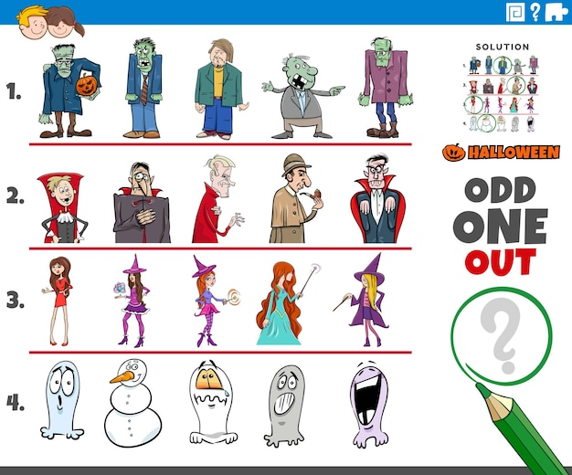 Odd one out picture in a row game for children with halloween characters